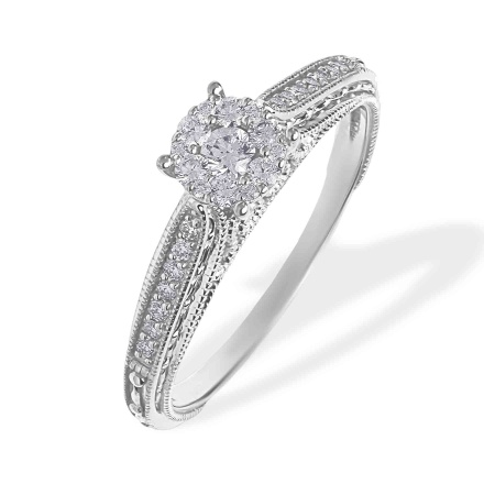 Diamond Renaissance Milgrain Engagement Ring. 585 (14kt) White Gold