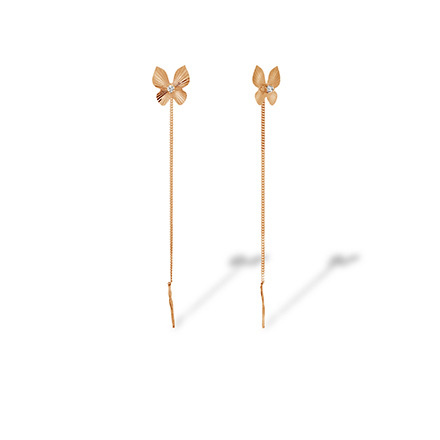 CZ Butterfly Chain Earrings. Cadmium-Free 585 Rose Gold