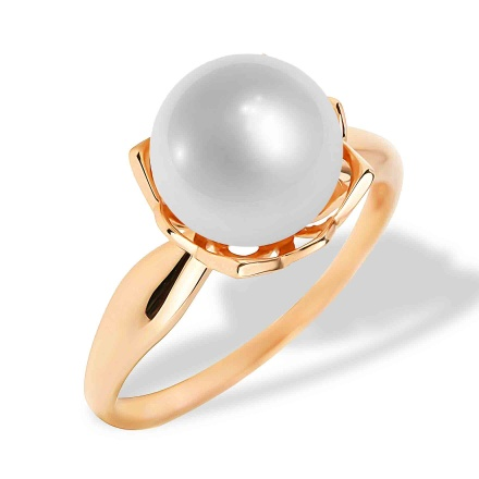 9mm Pearl Ring. 585 (14kt) Rose Gold
