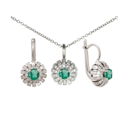 Emerald Jewelry Set. Emerald Diamond Earrings & Pendant