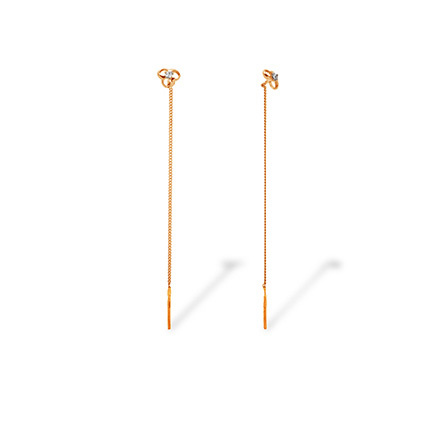 CZ Chain Earrings. Cadmium-Free 585 Rose Gold