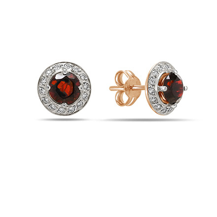 Garnet and CZ Halo Stud Earrings. Cadmium-Free 585 Rose Gold, Friction Backs