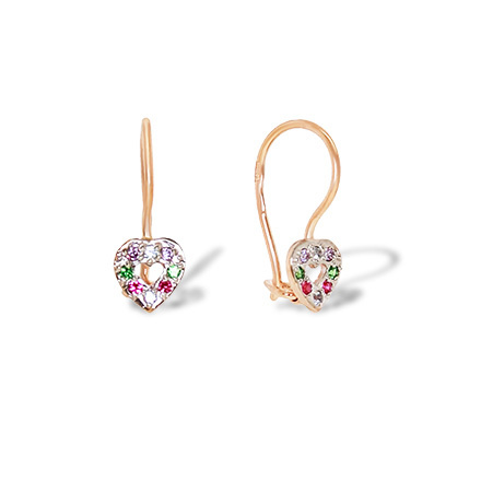Heart Shaped Children Earrings. Colored CZ Earrings