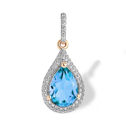 Blue Topaz and CZ Teardrop-shaped Pendant. 585 Rose Gold with Rhodium. 'Empress' Series