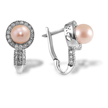Edwardian Era Inspired Estate Earrings. 8 mm Pink Pearl and 58 Diamonds