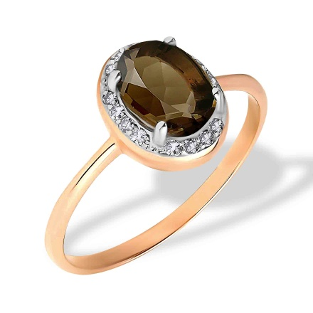 Oval Smoky Quartz and Diamond Ring. 585 (14K) Rose Gold