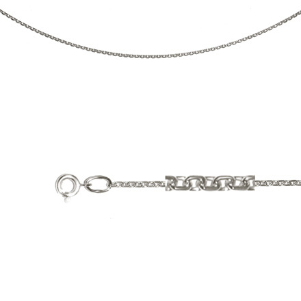 Cable-link Chain (0.6 mm Silver Solid Wire). Diamond Cut Technique, Rhodium Plating