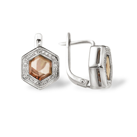 Rauh Topaz & Diamond Hexagonal Earrings