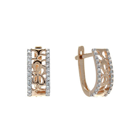Scrollwork Rose Gold Earrings Set with CZ