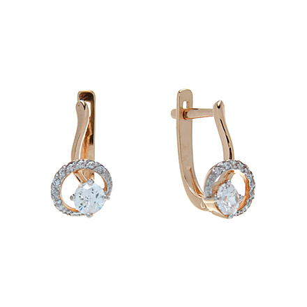 Swarovski CZ Leverback Gold Earrings