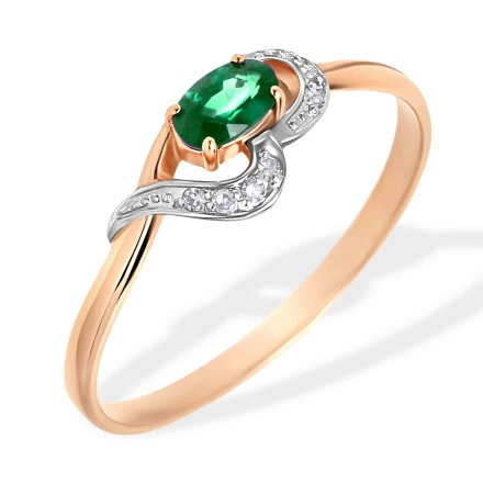 Oval Emerald and Diamond Ring. 585 (14kt) Rose Gold, Rhodium Detailing