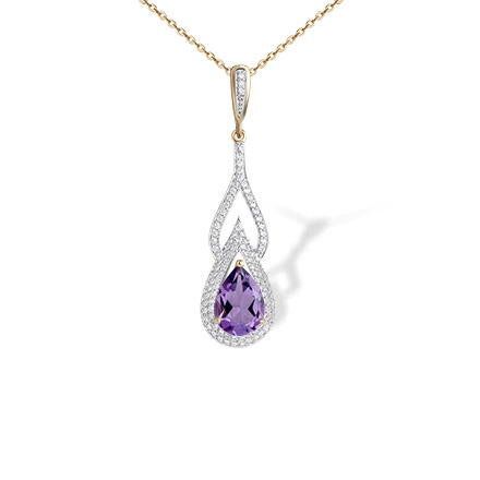Teardrop Amethyst and CZ Gold Pendant. 'Empress' Series