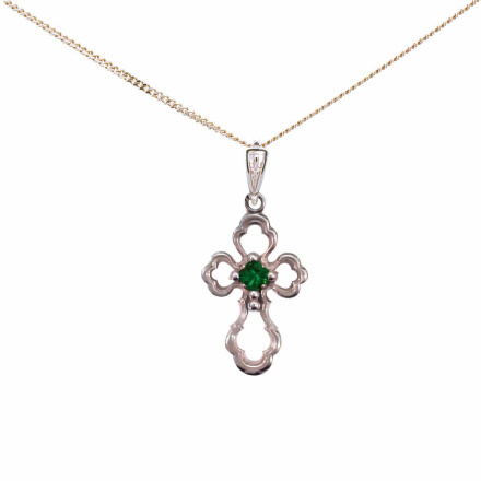 Emerald Open Work Cross. White Gold