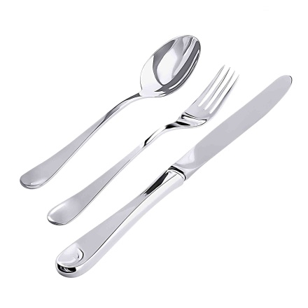 English Style King Size Silver Flatware Set of 3. Hypoallergenic Antimicrobial 830/999 Silver