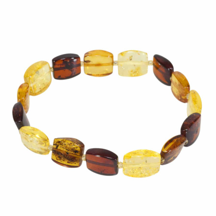 Cushion shaped amber stretch bracelet
