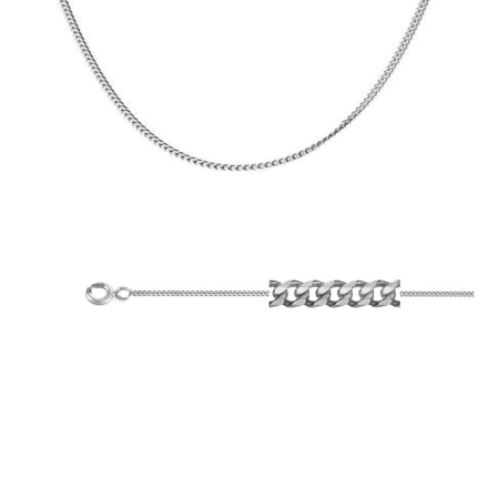 Single Curb-link Chain (0.35mm Silver Wires). Diamond Cut Technology