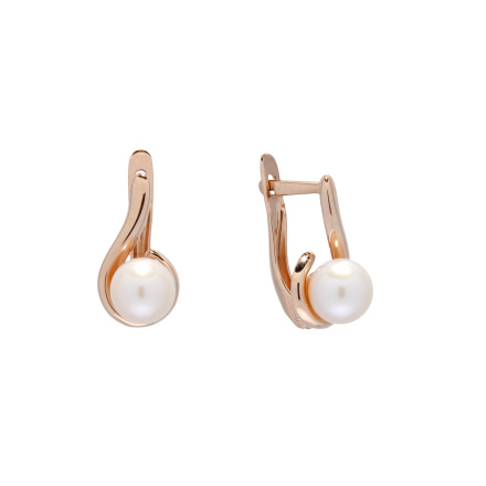 Pearl rose gold leverback earrings