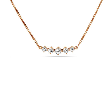 'Five Symbols of Joy' Necklace with CZ. 585 (14kt) Rose Gold
