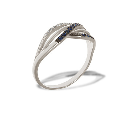 Sapphire and Diamond Crisscross Ring