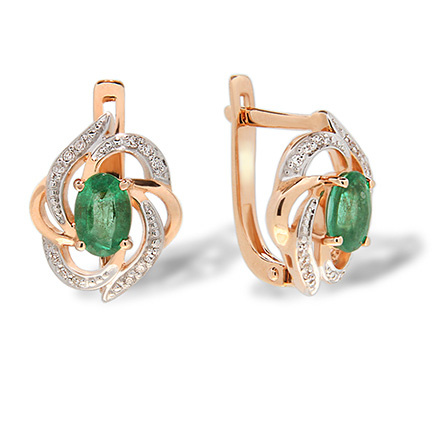 Flower-Inspired Emerald Diamond Earrings