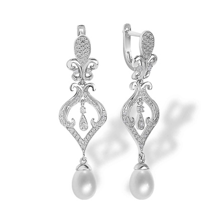 Pearl and CZ Chandelier Earrings. Hypoallergenic 925 Silver w/ Rhodium Plating