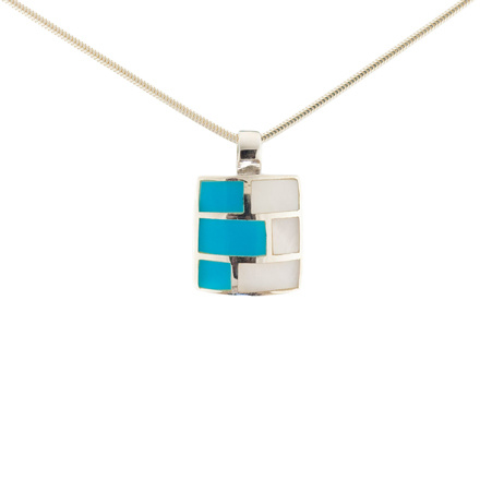 Turquoise & Mother-of-Pearl Silver Pendant