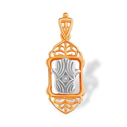 Hamsa Pendant. Rose and White Gold