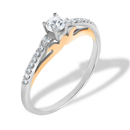 Diamond Engagement Ring. 585 (14kt) Rose and White Gold
