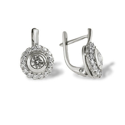Certified Diamond Halo Earrings. Palladium White Gold