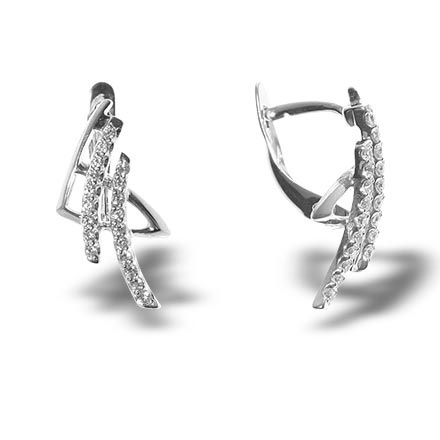 Oriental white gold earrings