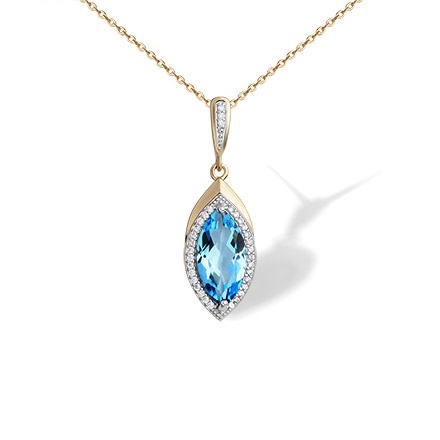 Marquise-shaped Blue Topaz Pendant