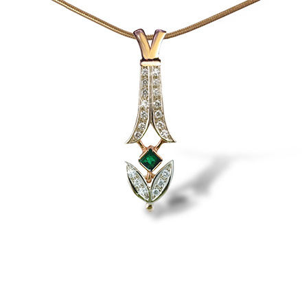 Certified Antique-inspired Slide Pendant. Russian Emerald and Diamonds