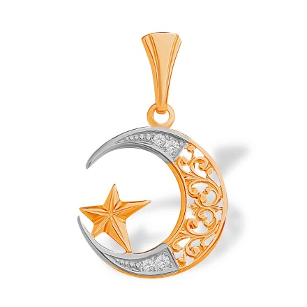 CZ Filigree Crescent and Star Pendant. 585 (14kt) Rose Gold, Rhodium Detailing