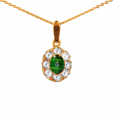 Faux Emerald and Swarovski CZ Halo Pendant
