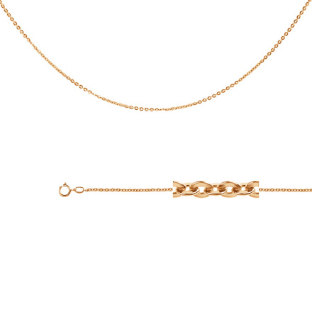Cable-link Chain (0.35mm Wire). Diamond Cut Solid Rose Gold
