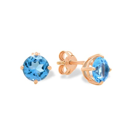 Blue Topaz Double Gallery Stud Earrings. Cadmium-Free 585 Rose Gold, Friction Backs