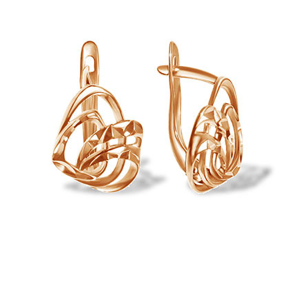 Diamond Cut Whimsical Ribbon Earrings