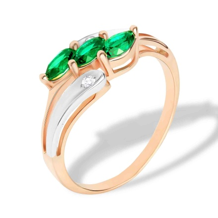 Faux Emerald and Diamond Ring. 585 (14K) Rose and White Gold