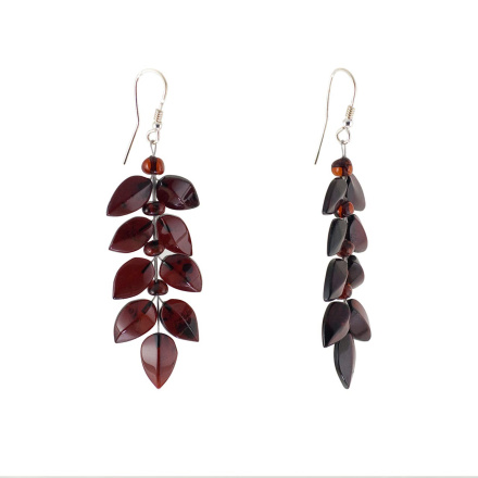 Silver dangle amber earrings