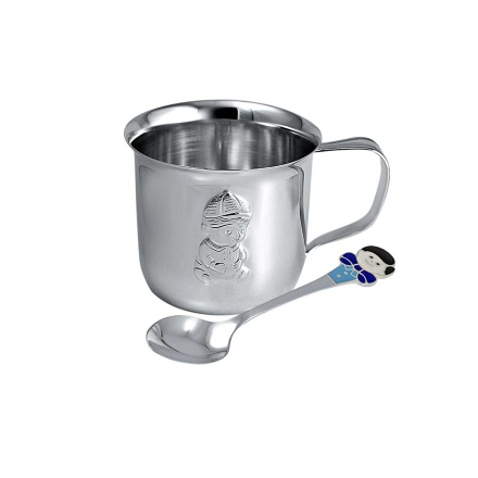 'A Boy' Baby Shower Silver Gift. Silver Cup and Enamel Silver Spoon