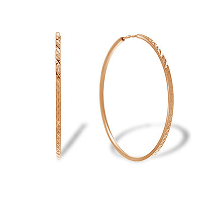 Diamond Cut Rose Gold Hoop Earrings. 32mm Diameter, Square Tubing