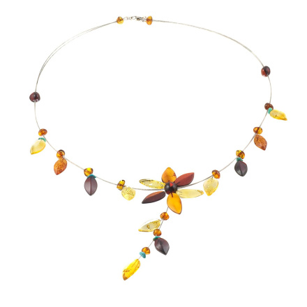 Amber And Turquoise Floral-Motif Dangle necklace