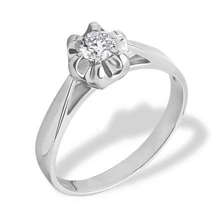 Diamond Solitaire Ring. 585 (14kt) White Gold