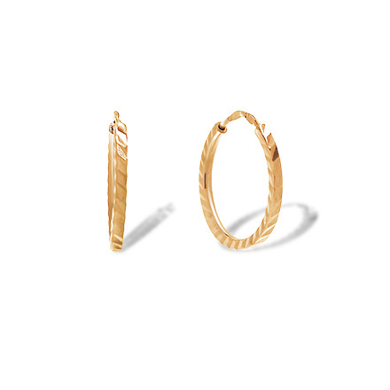 Kids Diamond Cut Hoop Earrings. 10mm Diameter, Square Tubing