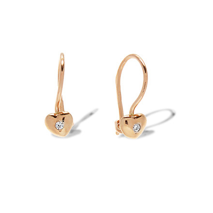 CZ Heart-shaped Kids' Earrings. 585 (14kt) Rose Gold