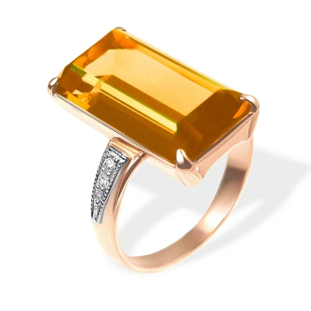 Goodly Citrine and CZ Ring. 585 (14kt) Rose and White Gold