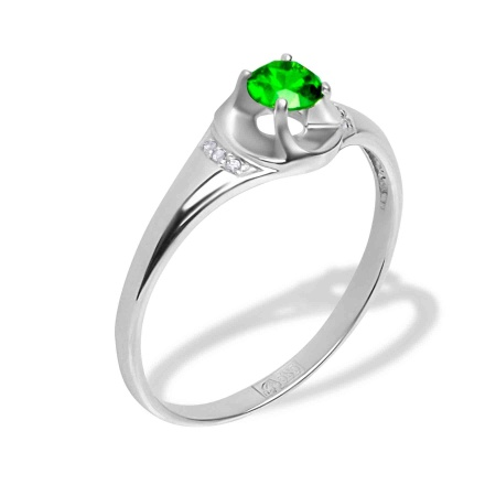 Demantoid and Diamond Ring. Hypoallergenic Nickel-free 585 White Gold