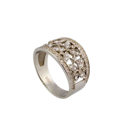 White Gold Russian Diamond Ring