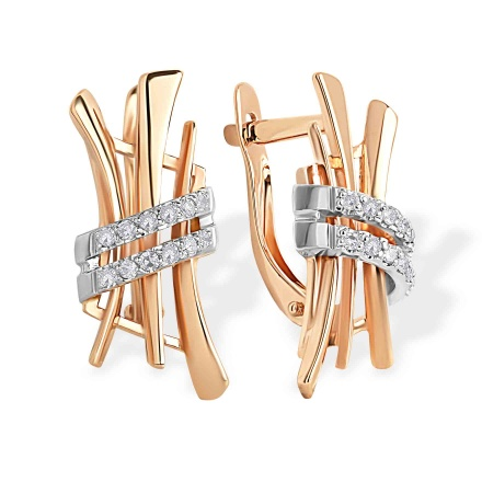 CZ Stylized Hieroglyph 'Love' Earrings. 585 (14kt) Rose and White Gold
