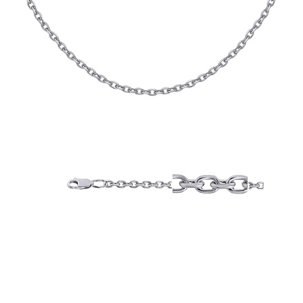 Cable-link Silver Chain (0.8mm Solid Wire). 'Diamond Finishing', Rhodium Plating